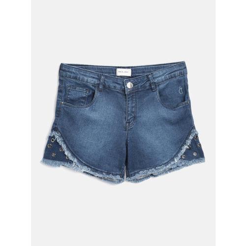 Gini and Jony Girls Navy Blue Washed Regular Fit Denim Shorts