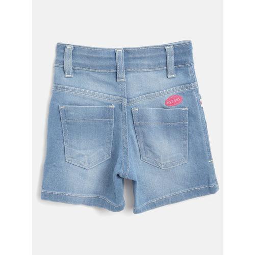 612 league Girls Blue Washed Regular Fit Denim Shorts