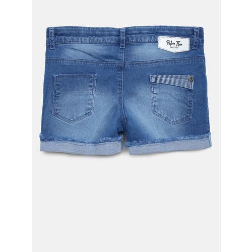 Palm Tree Girls Blue Washed Slim Fit Denim Shorts