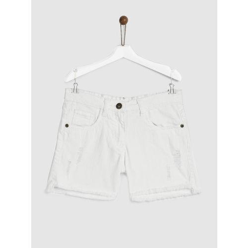 YK Girls White Washed Regular Fit Denim Shorts