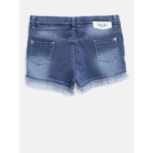 Palm Tree Girls Blue Washed Regular Fit Denim Shorts