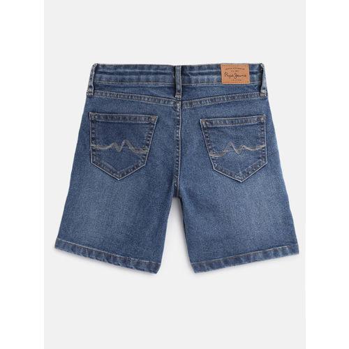 Pepe Jeans Girls Blue Washed ELENA Regular Fit Denim Shorts