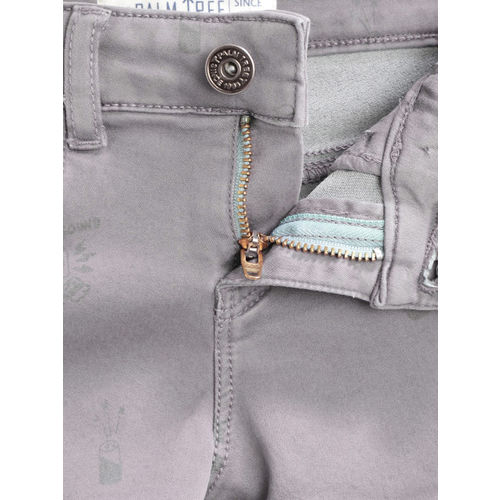 Palm Tree Girls Grey Washed Regular Fit Denim Shorts