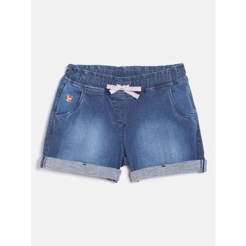 U.S. Polo Assn. Kids Girls Navy Blue Washed Denim Shorts