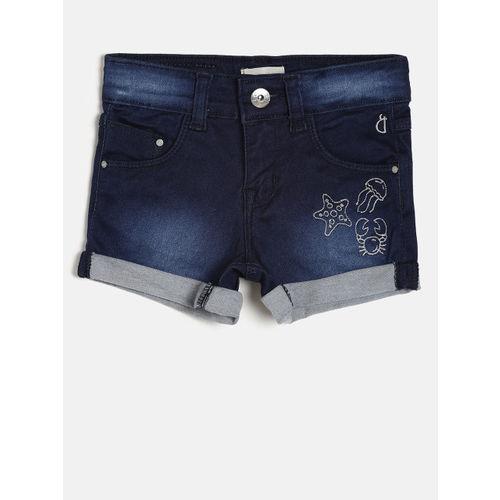 Gini and Jony Girls Blue Solid Regular Fit Denim Shorts
