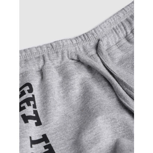 YK Girls Grey Printed Regular Fit Shorts