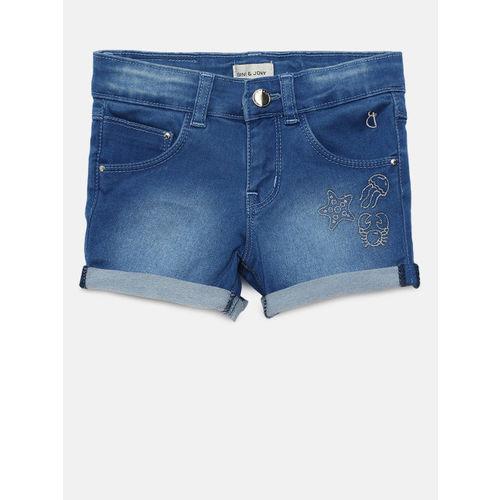 Gini and Jony Girls Blue Washed Regular Fit Denim Shorts