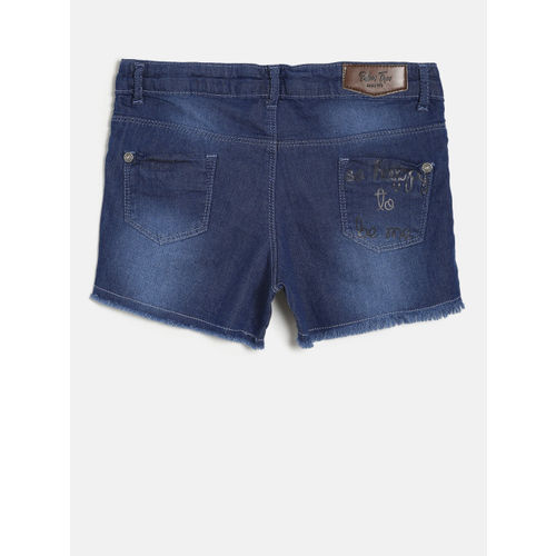Palm Tree Girls Blue Washed Regular Fit Denim Shorts