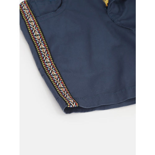 612 league Girls Navy Blue Solid Regular Fit Shorts