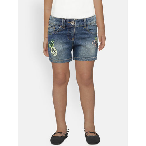 United Colors of Benetton Girls Blue Washed Denim Shorts with Embroidered Detail