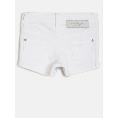 Gini and Jony Girls White Solid Regular Fit Regular Shorts