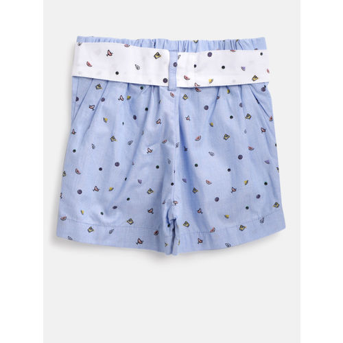 United Colors of Benetton Girls Blue Printed Regular Fit Shorts
