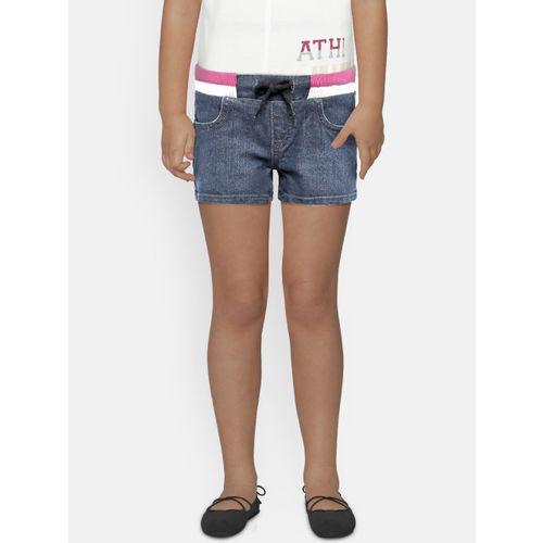 United Colors of Benetton Girls Blue Solid Regular Fit Denim Shorts