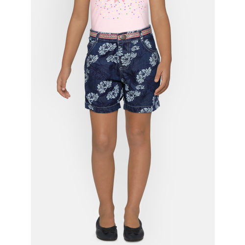 612 league Girls Navy Printed Regular Fit Chambray Shorts