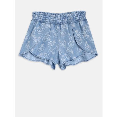 Gini and Jony Girls Blue Printed Regular Fit Denim Shorts
