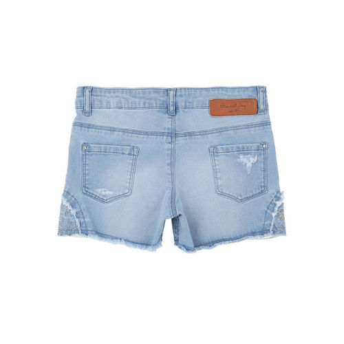 Gini and Jony Girls Blue Solid Regular Fit Denim Shorts