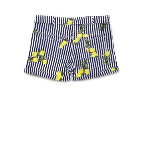 Peppermint Girls Navy Blue Printed Regular Fit Regular Shorts