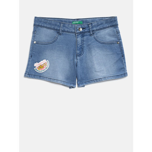 United Colors of Benetton Girls Blue Washed Regular Fit Denim Shorts