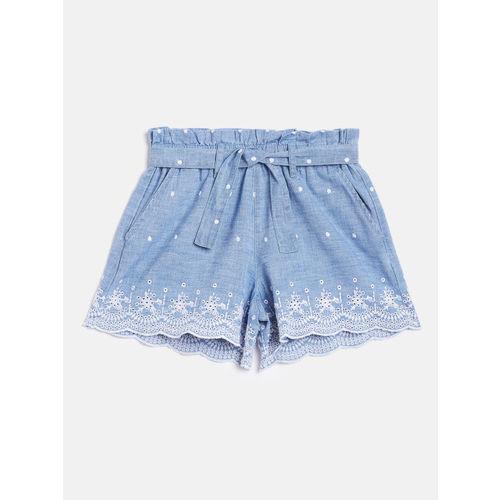 GAP Girls Blue Chambray Schiffli Embroidered Regular Fit Shorts