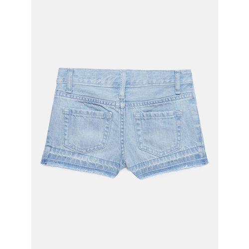 The Childrens Place Girls Blue Washed Regular Fit Denim Shorts