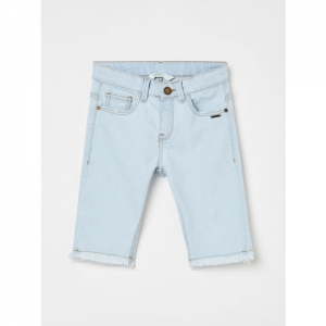 Bossini Girls Blue Solid Regular Fit Denim Shorts