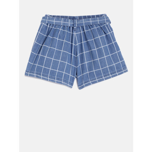 Palm Tree Girls Blue Checked Regular Fit Shorts