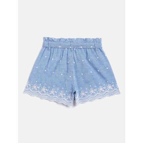 GAP Girls Blue & White Schiffli Embroidered Chambray Shorts