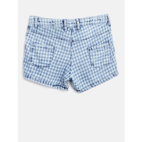 Gini and Jony Girls Blue Checked Regular Fit Shorts