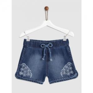 YK Girls Blue Washed Regular Fit Denim Shorts
