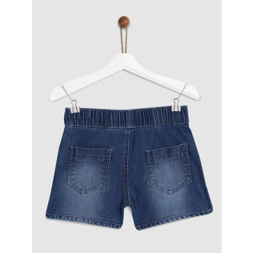 YK Girls Blue Washed Regular Fit Denim Shorts