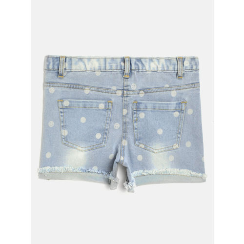 Nauti Nati Girls Blue & White Printed & Washed Regular Fit Denim Shorts