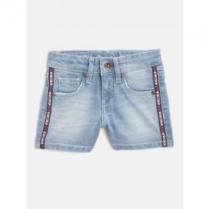 Pepe Jeans Girls Blue Washed Regular Fit Denim Shorts
