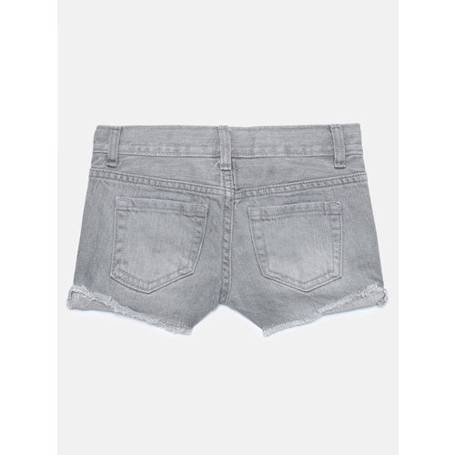 The Childrens Place Girls Grey Washed Regular Fit Denim Shorts