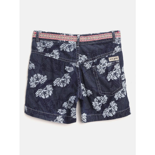 612 league Girls Navy Blue Floral Print Regular Fit Chambray Shorts