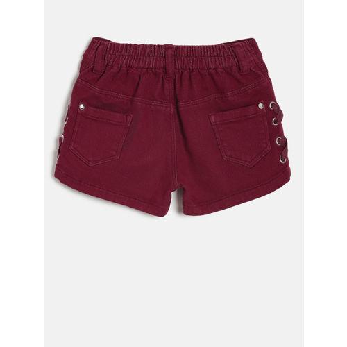 Gini and Jony Girls Maroon Solid Regular Fit Denim Shorts