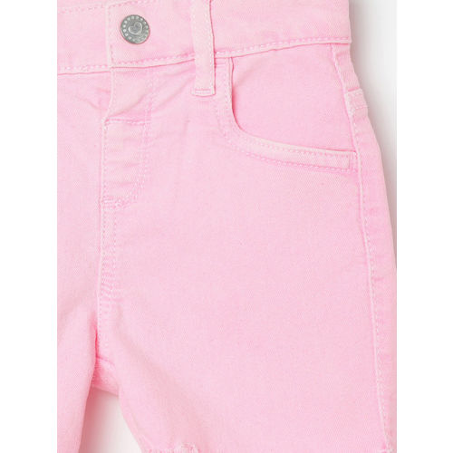 Juniors by Lifestyle Infant Pink Solid Regular Fit Denim Shorts
