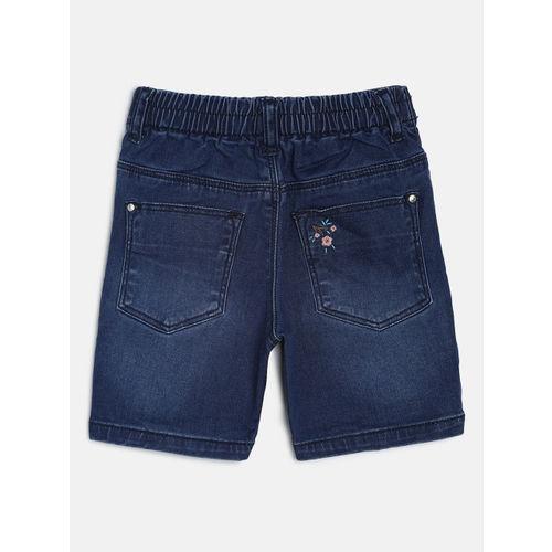 Gini and Jony Girls Blue Self Design Regular Fit Denim Shorts