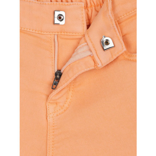 Gini and Jony Girls Peach-Coloured Solid Hot Pants