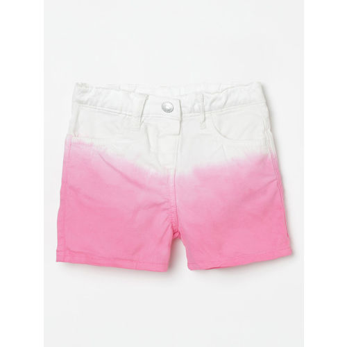 Juniors by Lifestyle Girls Pink Colourblocked Regular Fit Denim Shorts