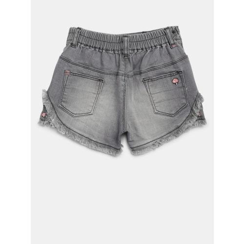 Palm Tree Girls Grey Washed Slim Fit Denim Shorts