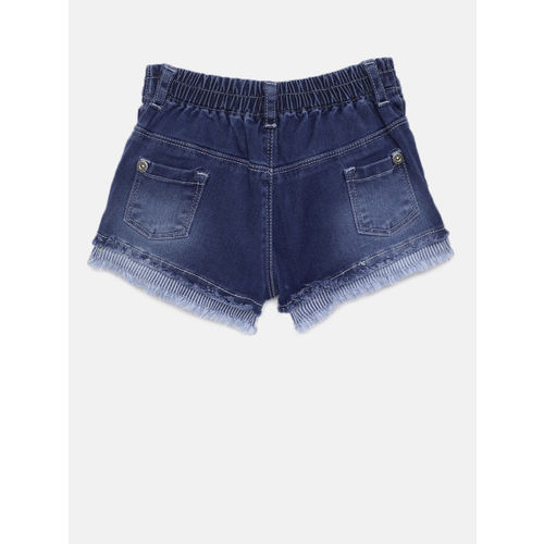 Palm Tree Girls Blue Solid Regular Fit Denim Shorts