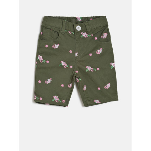 Palm Tree Girls Green Printed Slim Fit Shorts