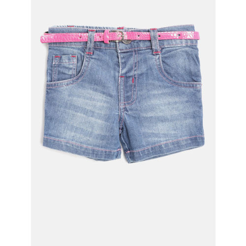 612 league Girls Blue Washed Regular Fit Denim Shorts
