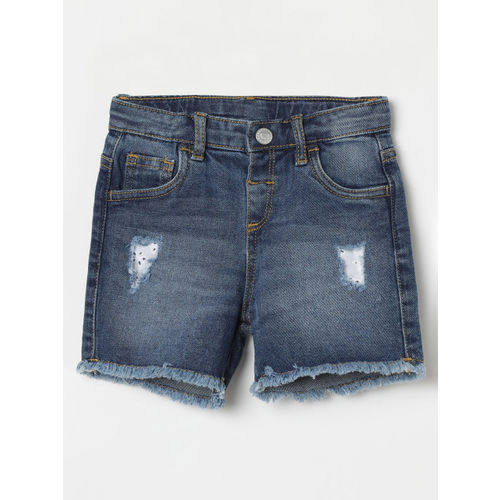 Juniors by Lifestyle Infant Blue Washed Distressed Regular Fit Denim Shorts