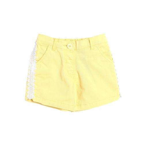 612 league Girls Yellow Solid Regular Fit Hot Pants