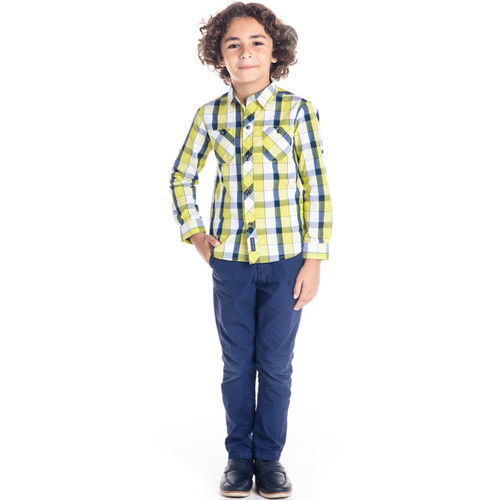 Cherry Crumble Boys Yellow & Blue Regular Fit Checked Casual Shirt