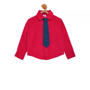 A Little Fable Boys Red Regular Fit Solid Casual Shirt