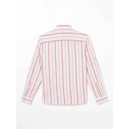 Fame Forever by Lifestyle Boys White & Pink Slim Fit Striped Casual Shirt