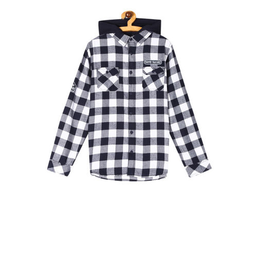 Cherokee Boys Navy Blue & White Regular Fit Checked Hooded Casual Shacket