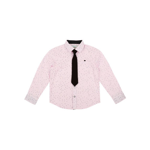 Pantaloons Junior Boys Pink Regular Fit Printed Casual Shirt with Tie